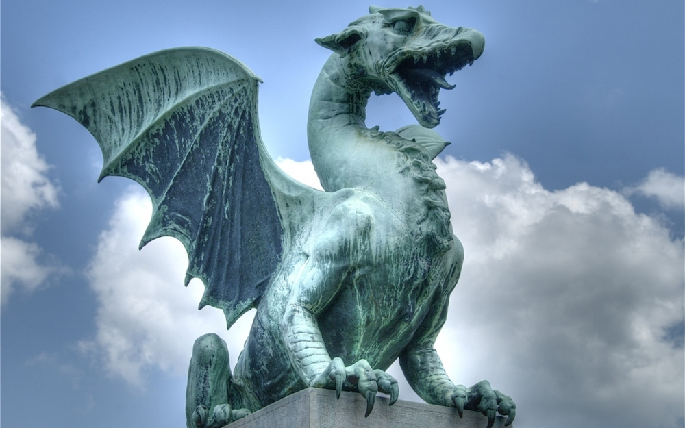 Dragon statue in downtown Ljubljana, Slovenia