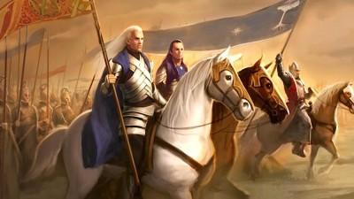 Glorfindel, Elrond and King Earnur unite against the Witch King of Angmar