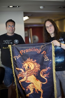 Marcus & Nikos with Greek Tolkien Society Banner
